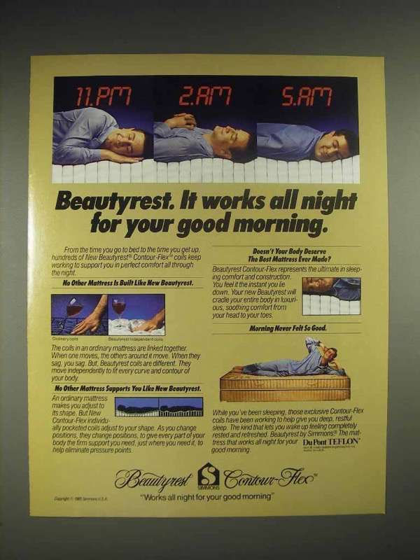1985 Simmons Beautyrest mattress Ad - Works All Night