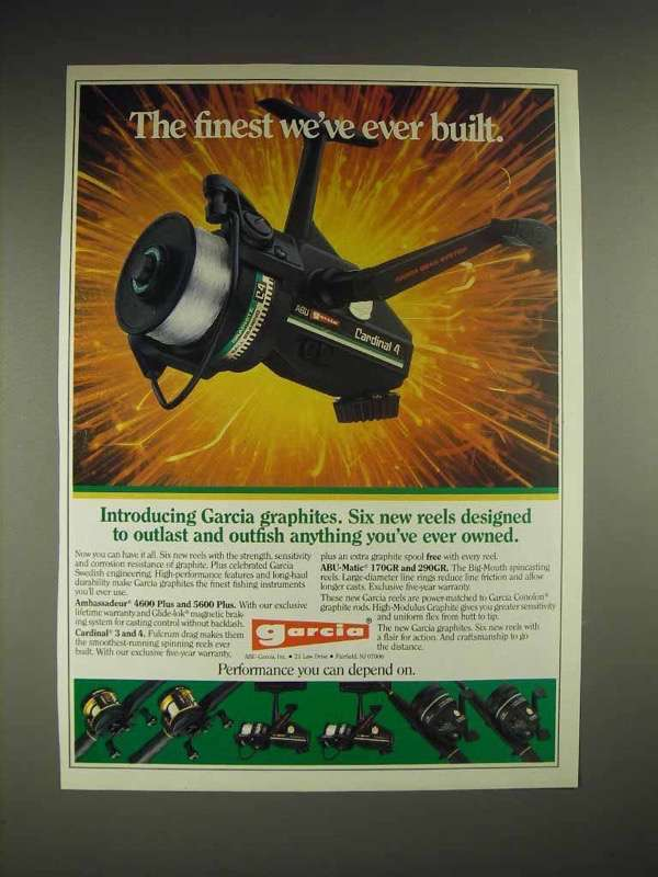 1985 Garcia Cardinal 4 reel Ad - The Finest Ever Built