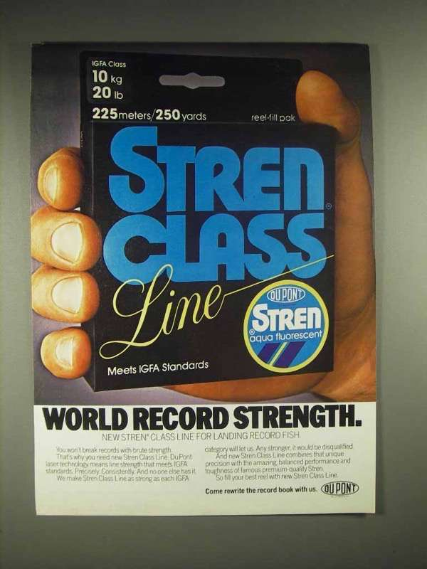 1985 Stren Class Fishing Line Ad - Record Strength
