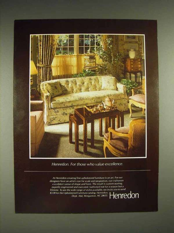 1984 Henredon Furniture Ad - Value Excellence