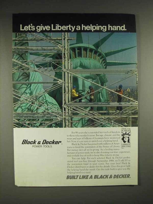 1984 Black & Decker Power Tools Ad, Give Liberty a Hand