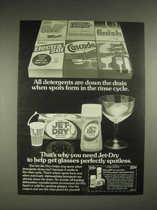 1984 Jet-Dry Water Spot Preventer Ad - Down the Drain