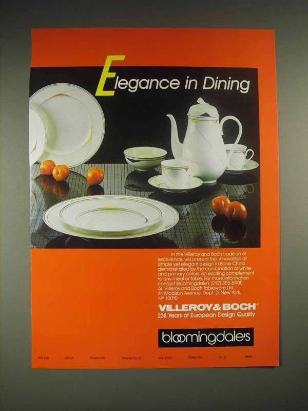 1985 Villeroy & Boch Trio China Ad - Elegance in Dining