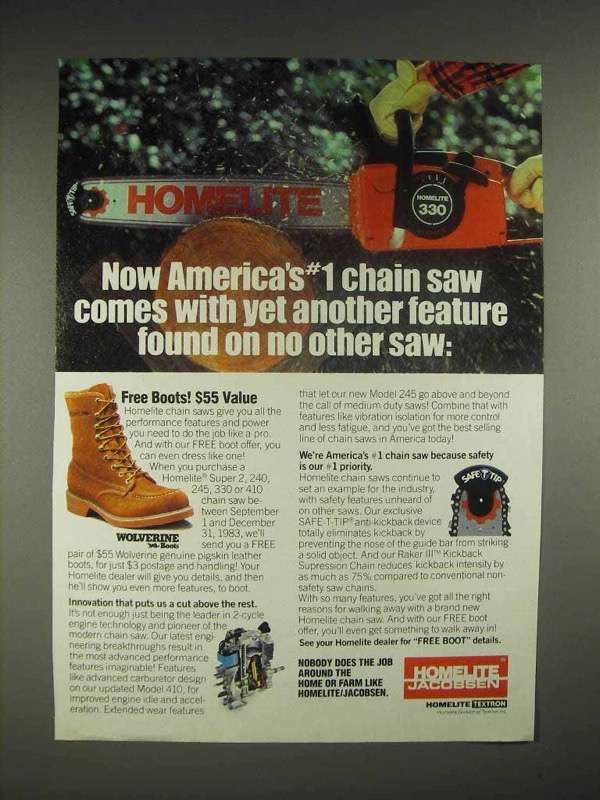 1983 Homelite 330 Chainsaw Ad - Yet Another Feature