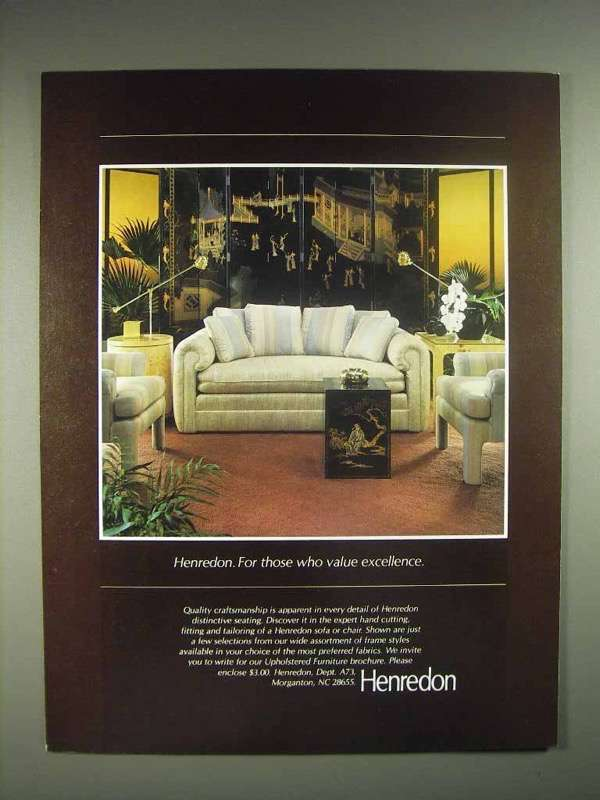 1983 Henredon Furniture Ad - Value Excellence