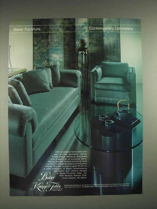1982 Baker Contemporary Upholstery Furniture Ad
