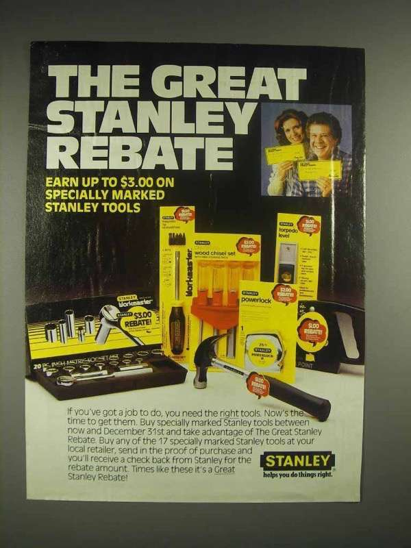 1982 Stanley Tools Ad - The Great Rebate