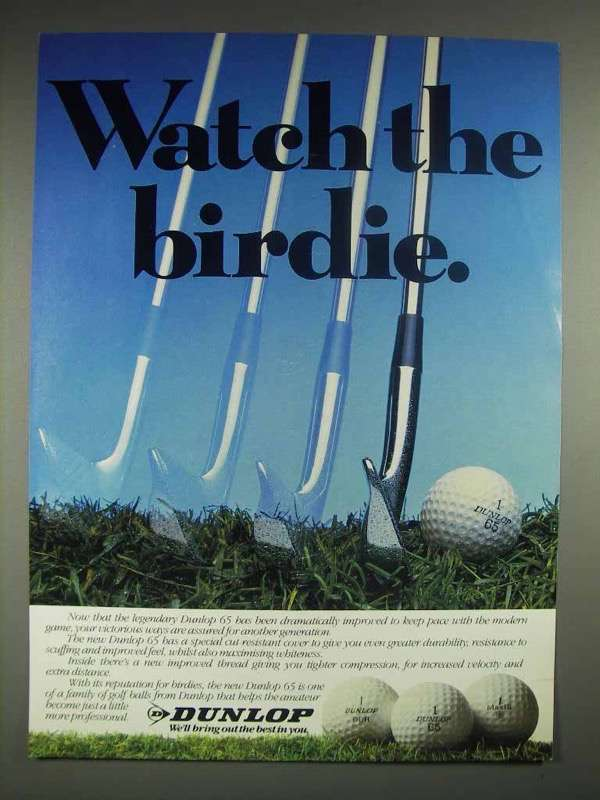1981 Dunlop 65 golf ball Ad - Watch the Birdie