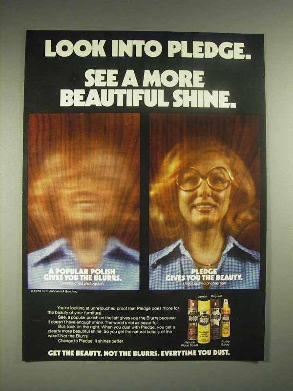 1978 Pledge Wax Ad - See a More Beautiful Shine