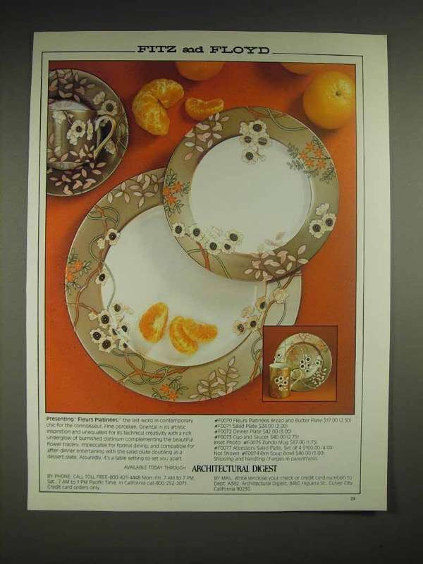 1982 Fitz and Floyd Fleurs Platinees China Ad