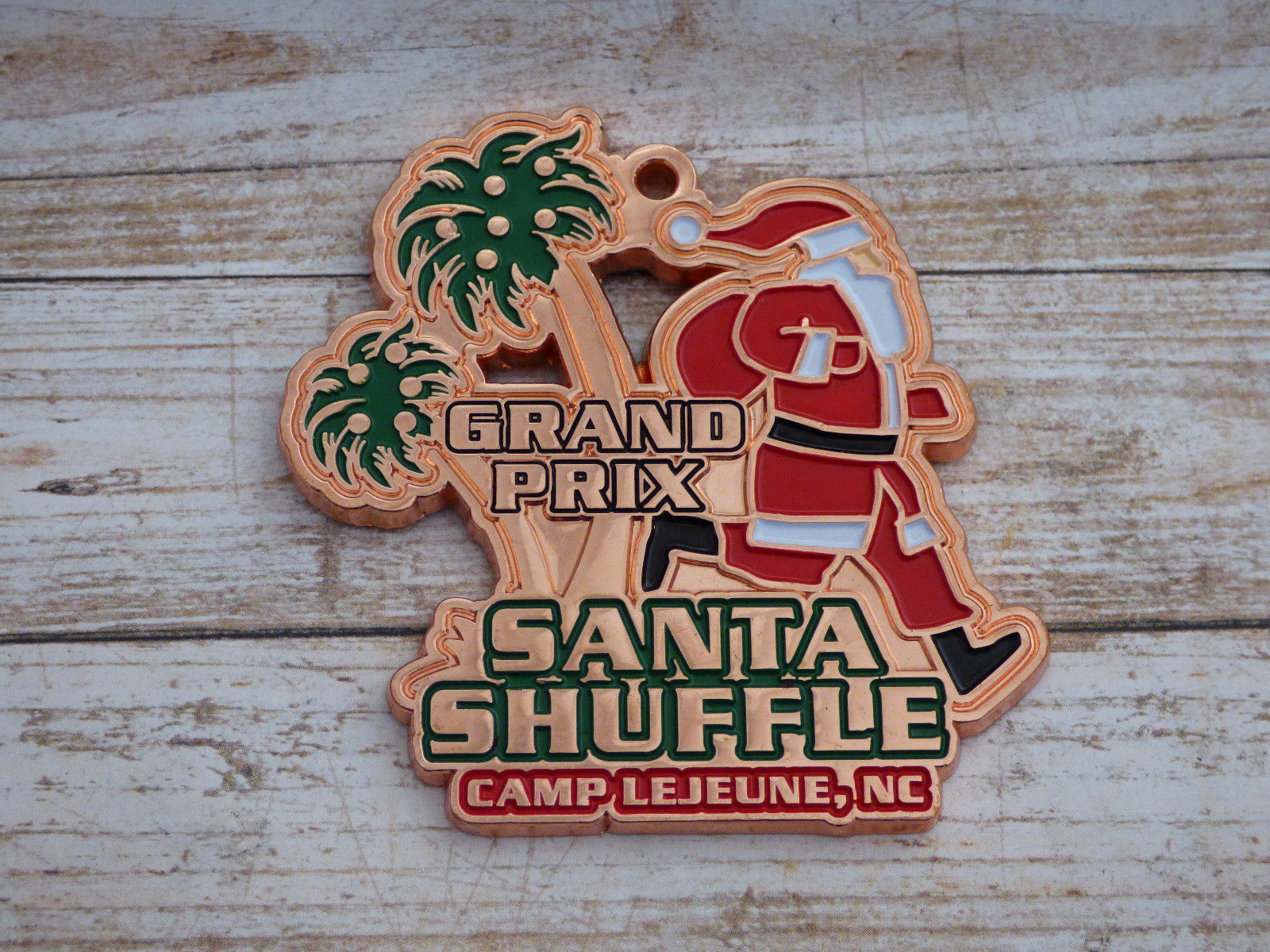 Marine Corps Camp Lejune Santa Shuffle Grand Prix Medallion
