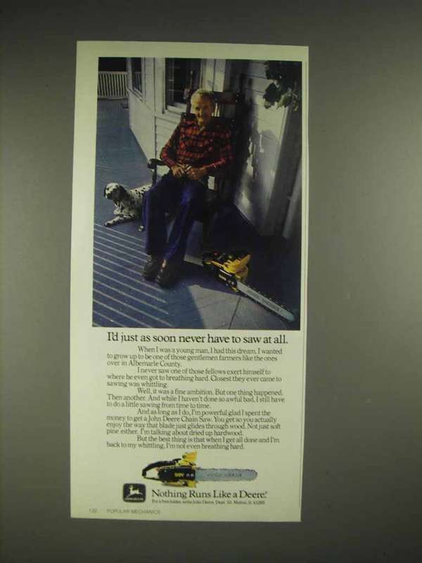 1980 John Deere Chainsaw Ad - As Soon Never Have To - $14.99