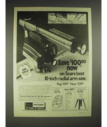 1977 Sears Craftsman 10-inch radial arm saw Ad - $14.99