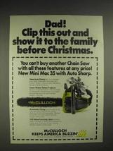 1976 McCulloch Mini Mac 35 chainsaw Ad - Clip This Out - $14.99
