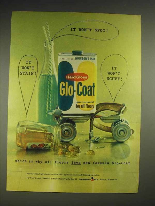 1959 Johnson's Wax Hard Gloss Glo-Coat Ad - Won't Spot