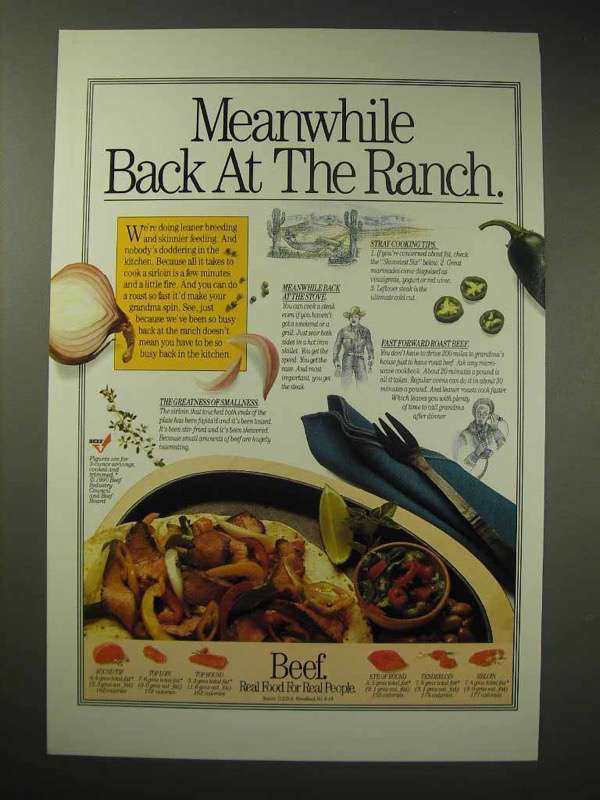 1990 Beef Ad - Meanwhile Back At The Ranch