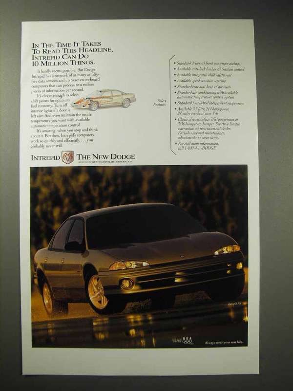 Primary image for 1994 Dodge Intrepid ES Car Ad - Do 10 Million Things