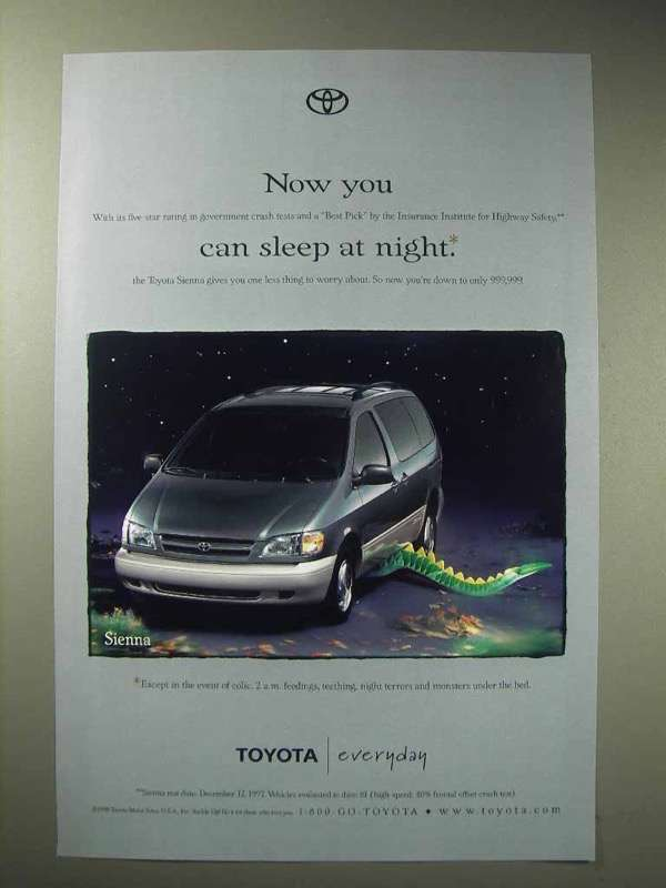 Primary image for 1998 Toyota Sienna Minivan Ad - You Can Sleep at Night