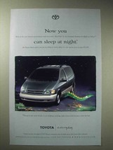 1998 Toyota Sienna Minivan Ad - You Can Sleep at Night - $14.99