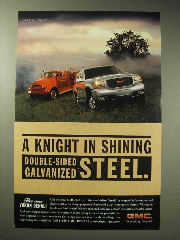 Primary image for 1998 GMC Yukon Denali Ad - Knight in Shining Steel