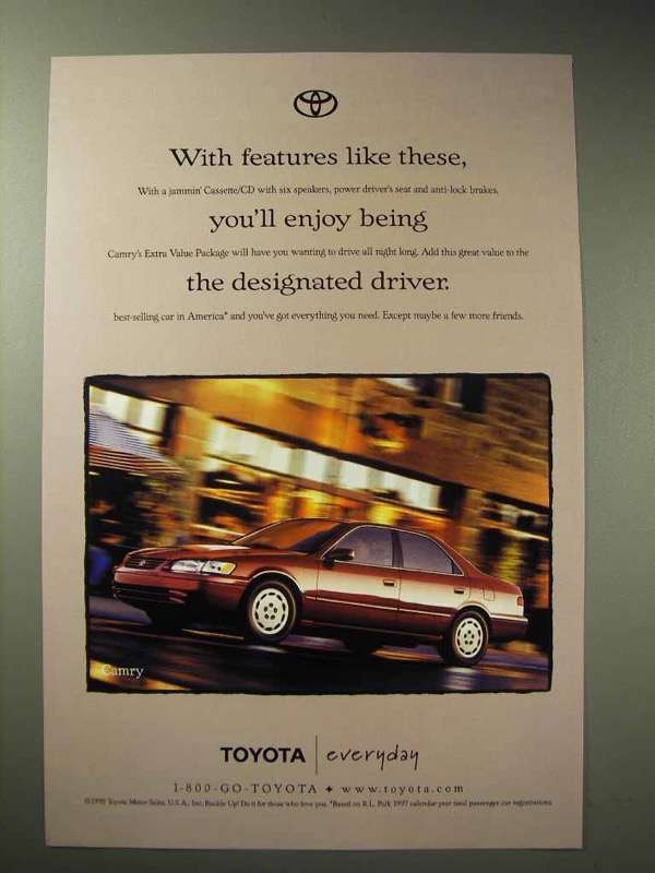 1998 Toyota Camry Car Ad, Enjoy Being Designated Driver