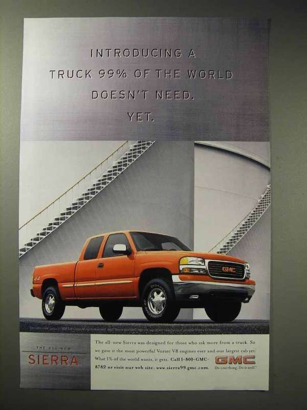 Primary image for 1998 GMC Sierra Truck Ad - 99% Doesn't Need Yet