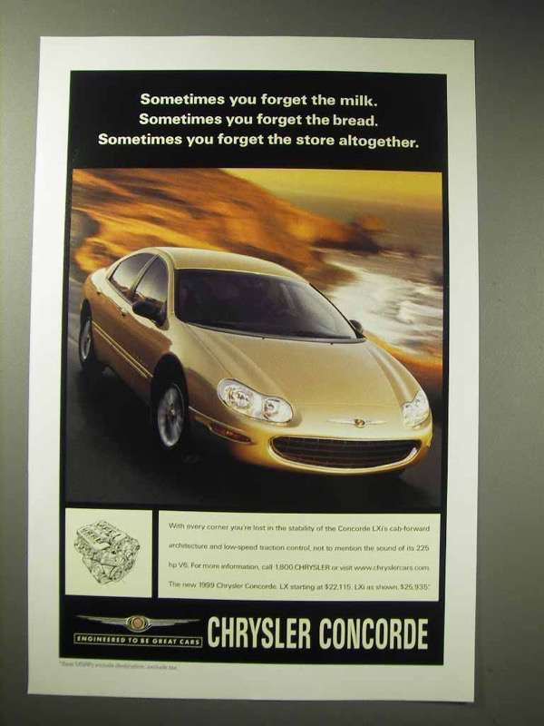 Primary image for 1999 Chrysler Concorde Lxi Car Ad