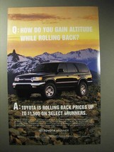 2001 Toyota 4Runner Ad - Gain Altitude Rolling Back - $14.99
