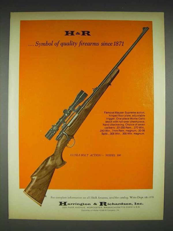 1970 H&R Ultra Bolt Action - Model 300 Rifle Ad