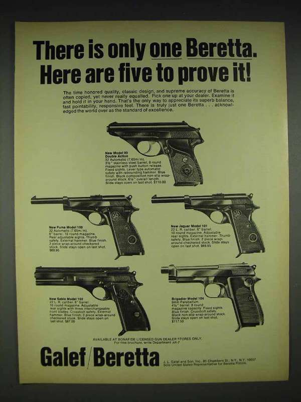 1970 Beretta 90, Puma 100, Sable 102, Jaguar 101 104 Ad - $14.99