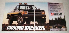 1989 2-page Dodge Dakota 4x4 Pickup Truck Ad - Ground Breaker - $14.99