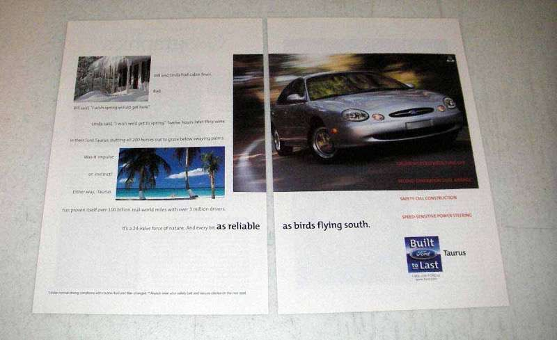 Primary image for 1998 Ford Taurus Car Ad - As Reliable As Birds Flying South