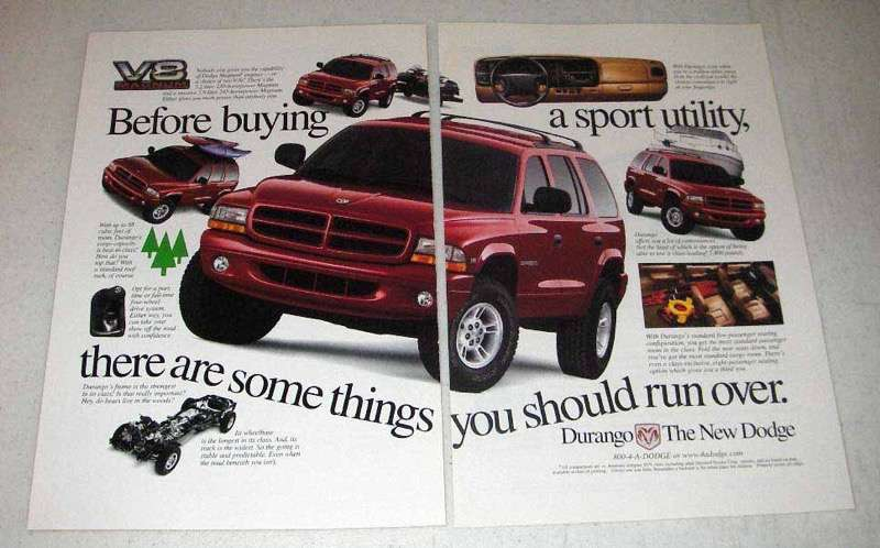 Primary image for 1998 Dodge Durango Ad - Things You Should Run Over