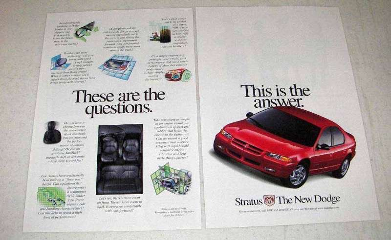 Primary image for 1998 Dodge Stratus Car Ad - These are the Questions