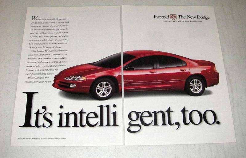 Primary image for 1998 Dodge Intrepid ES Car Ad - It's Intelligent, Too
