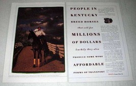 1998 Toyota Car Ad - People in Kentucky Breed Horses - $14.99