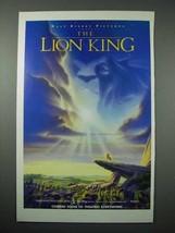 1994 Walt Disney The Lion King Movie Ad - $14.99