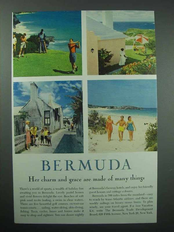 Primary image for 1958 Bermuda Tourism Ad - Her Charm And Grace