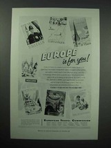 1956 European Travel Commission Tourism Ad - $14.99
