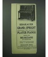 1913 Krakauer Upright Piano Ad - $14.99