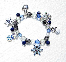 Kenneth Cole Snowflake & Snowman Charm Bracelet on Stretch String - £9.11 GBP