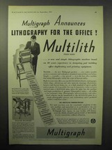 1933 Multigraph Multilith Lithography Machine Ad - $14.99