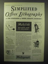 1933 Multigraph Multilith Lithography Machine Ad - Simplified Office - $14.99