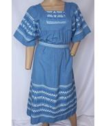 Vintage Azul Bordado Guatemala Étnico Patio Día Muu Festival Boho Vestid... - $113.33