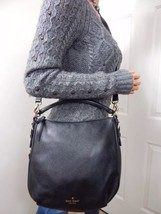 KATE SPADE Cobble Hill Small Ella $298 Black Leather Cross Body Hobo Han... - $143.54
