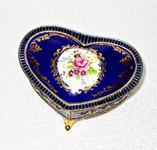 Porcelain Enamel Music Trinket Box Heart Shaped Footed - $19.95