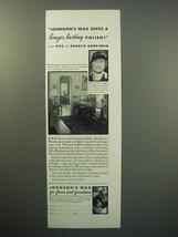 1933 Johnson's Wax Ad - Mrs. J. Borden Harriman - $14.99