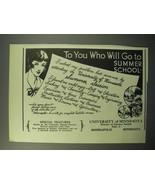 1933 University of Minnesota Ad - Go to Summer School - $14.99