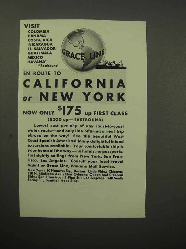 Primary image for 1932 Grace Line Cruise Ad - California or New York