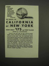 1932 Grace Line Cruise Ad - California or New York - $14.99